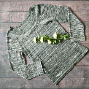 Nine & Co. | Gray/Silver Stripe Long Sleeve Blouse